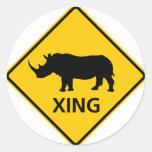 Rhinoceros Crossing Highway Sign Sticker