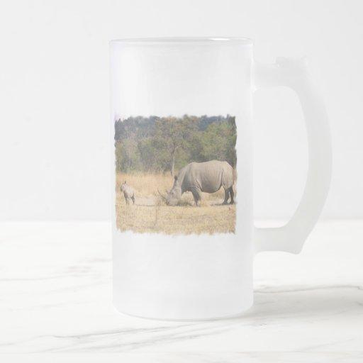 Rhinoceros Family Frosted Beer Mug
