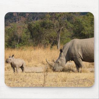 Rhinoceros Family Mouse Pad