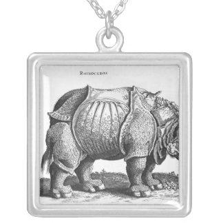 Rhinoceros, from 'Historia Animalium' Square Pendant Necklace