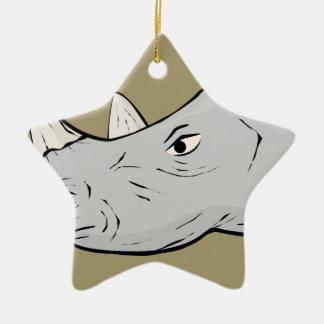 Rhinoceros Head Ceramic Ornament