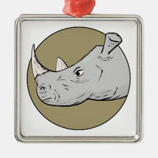 Rhinoceros Head Metal Ornament