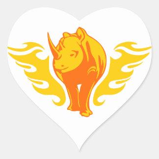 Rhinoceros in Flames Heart Sticker
