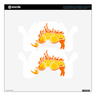 Rhinoceros in Flames Skins For PS3 Controllers