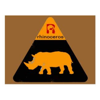 rhinoceros label postcard
