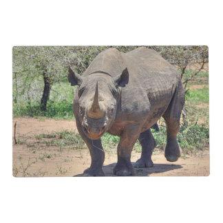 rhinoceros laminated place mat