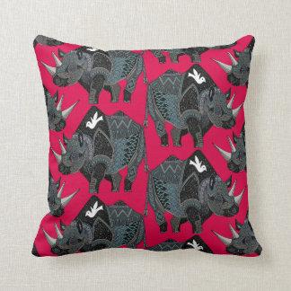 rhinoceros red throw pillow