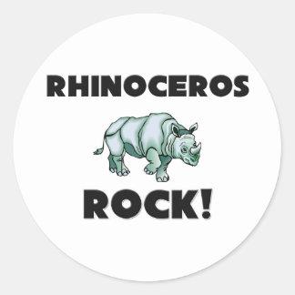 Rhinoceros Rock Round Stickers
