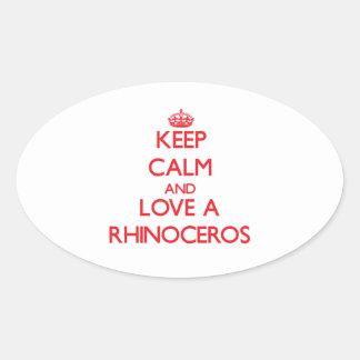 Rhinoceros Oval Stickers