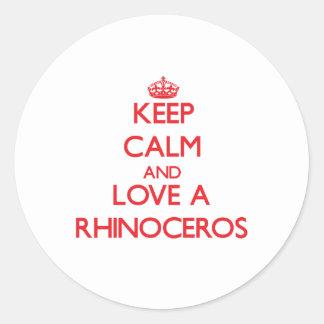 Rhinoceros Round Stickers