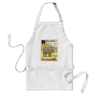Rhinoceros Story Book Drawing Adult Apron