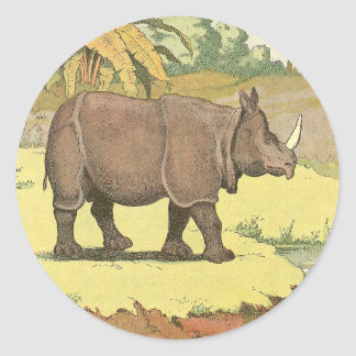 Rhinoceros Story Book Drawing Classic Round Sticker