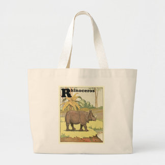 Rhinoceros Story Book Drawing Large Tote Bag