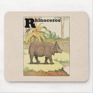 Rhinoceros Story Book Drawing Mouse Pad