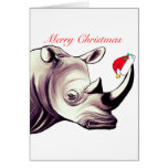 Rhinoceros With Santa Hat Christmas Card