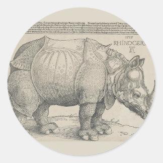Rhinoceros, Woodcut by Albrecht Durer Classic Round Sticker