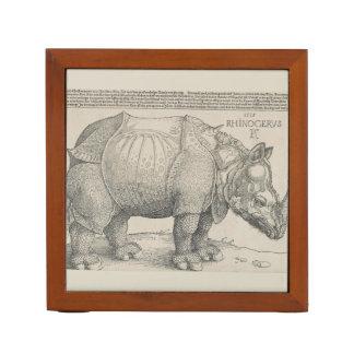 Rhinoceros, Woodcut by Albrecht Durer Desk Organizer