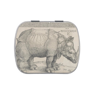 Rhinoceros, Woodcut by Albrecht Durer Jelly Belly Candy Tins