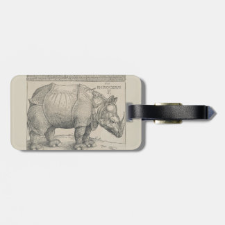 Rhinoceros, Woodcut by Albrecht Durer Tags For Luggage