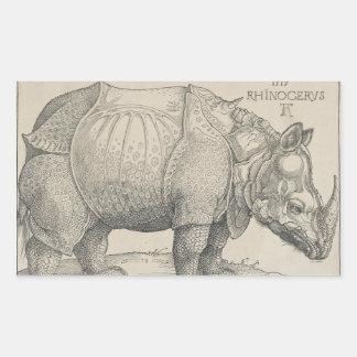 Rhinoceros, Woodcut by Albrecht Durer Rectangular Sticker