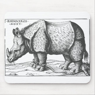 Rhinoceros woodcut by Hans Burgkmair 1515 Mouse Pad