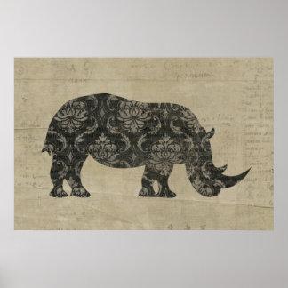 Rhinoceroses Silhouette Art Poster