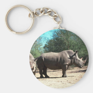 Rhinos blancos llavero redondo tipo pin