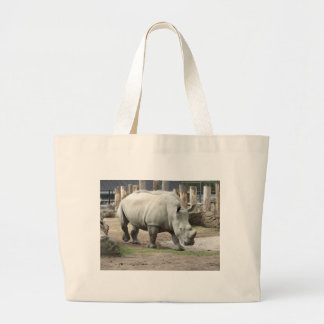 Rhinos blancos septentrionales en peligro bolsa tela grande