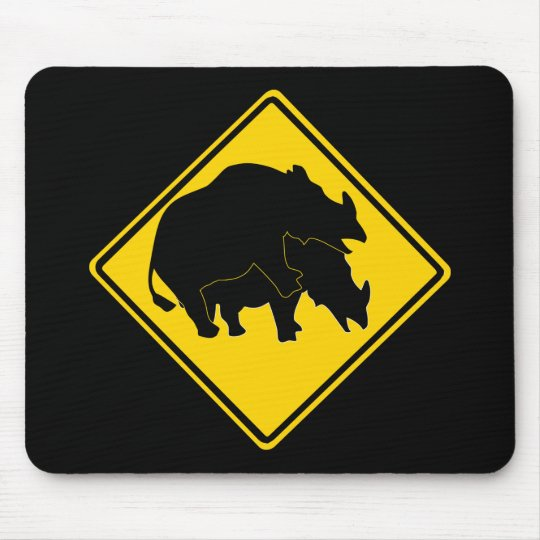 RHINOS CROSSING ROAD SIGN MOUSE PAD