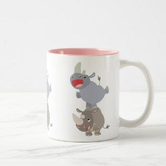 Rhinos lindos del dibujo animado de la pídola taza de café de dos colores