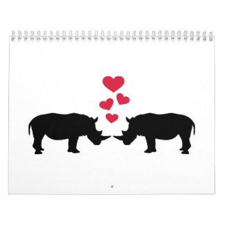 Rhinos red hearts love calendars