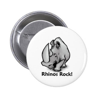 Rhinos Rock! 2 Inch Round Button