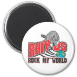 Rhinos Rock My World Fridge Magnet
