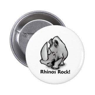 Rhinos Rock! Pinback Button