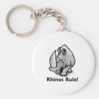Rhinos Rule! Basic Round Button Keychain