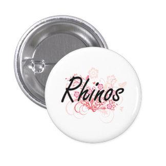Rhinos with flowers background 1 inch round button