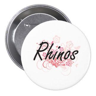 Rhinos with flowers background 3 inch round button