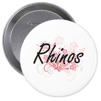 Rhinos with flowers background 4 inch round button