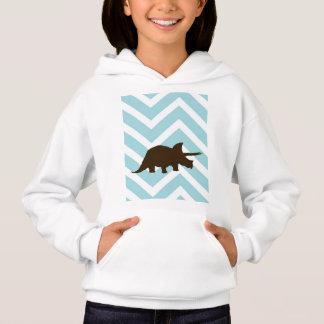 Rhinosaur on Chevron Zigzag - Blue and White Hoodie