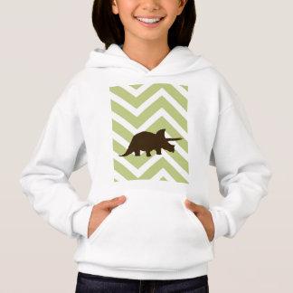 Rhinosaur on Chevron Zigzag - Green and White Hoodie