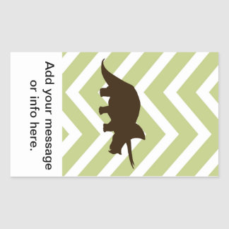Rhinosaur on Chevron Zigzag - Green and White Rectangular Sticker