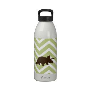 Rhinosaur on Chevron Zigzag - Green and White Water Bottle