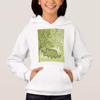 Rhinosaur on Zigzag Chevron - Green and White Hoodie