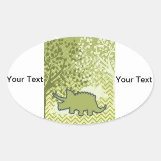 Rhinosaur on Zigzag Chevron - Green and White Oval Sticker