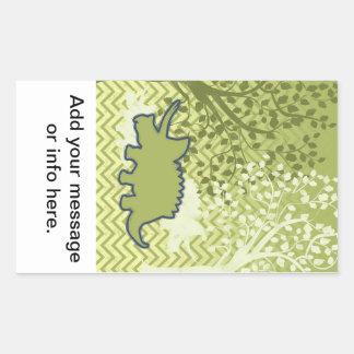 Rhinosaur on Zigzag Chevron - Green and White Rectangular Sticker