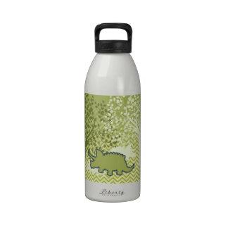 Rhinosaur on Zigzag Chevron - Green and White Reusable Water Bottle