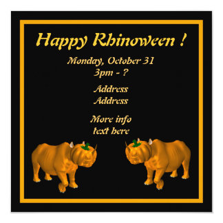 """¡Rhinoween feliz! Invitación 5.25"""" X 5.25"""""""