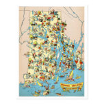 Rhode Island and Providence Plantations Funny Map Postcard