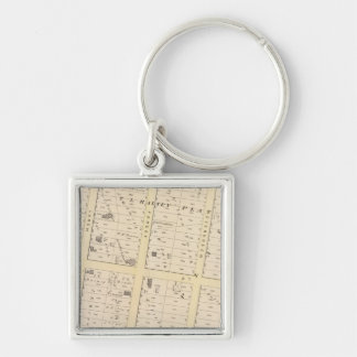 Rhode Island Atlas Map Silver-Colored Square Keychain