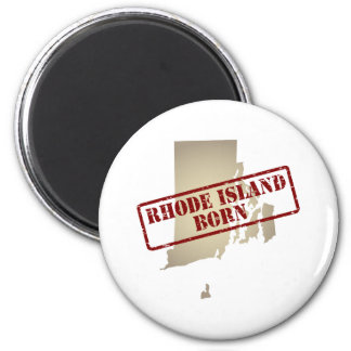 Rhode Island Born - Stamp on Map Magnet